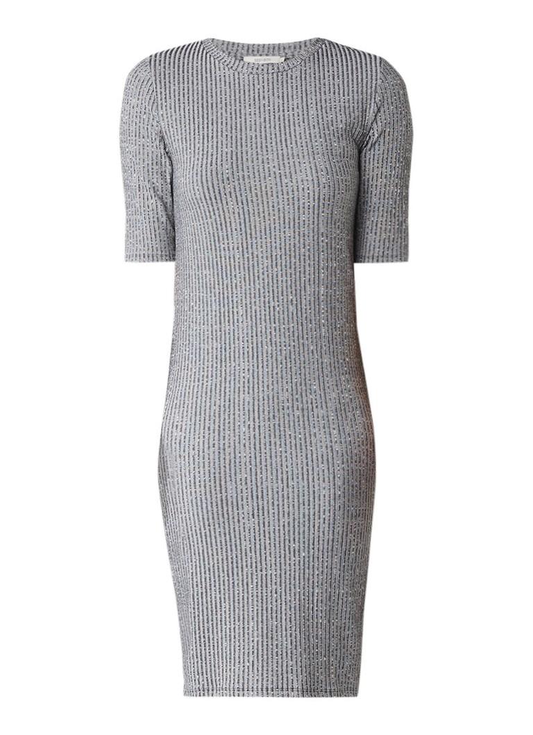 Sissy Boy Jib ribjersey midi-jurk met halflange mouw grijsmele