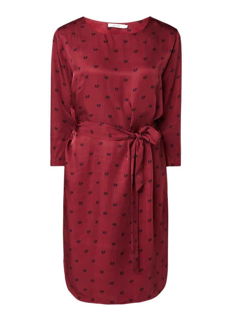 Sissy Boy Janas midi-jurk met jacquarddessin en strikceintuur bordeauxrood