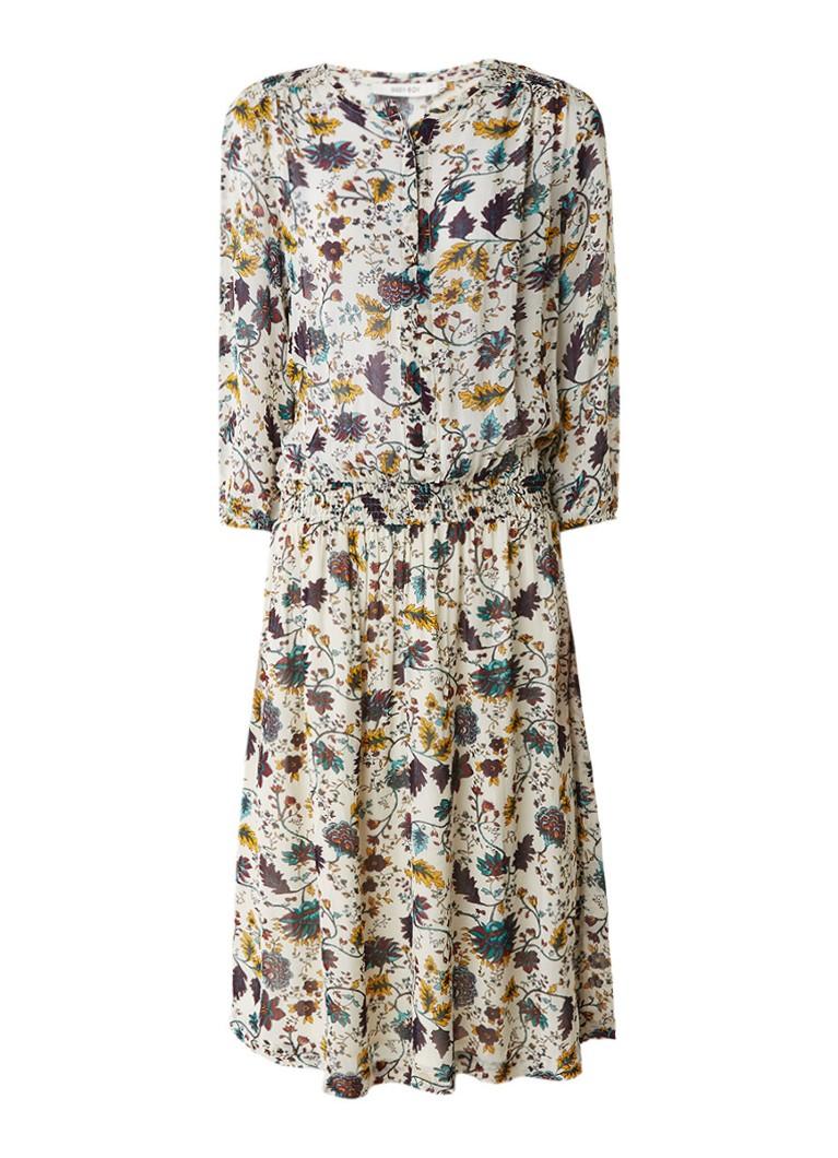 Sissy Boy Jowi midi-jurk van crêpe met bloemendessin gebroken wit