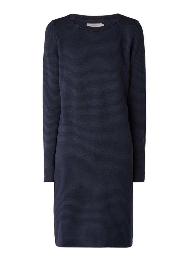 Sissy Boy Joona jersey miid-jurk met ingeweven streepdessin donkerblauw
