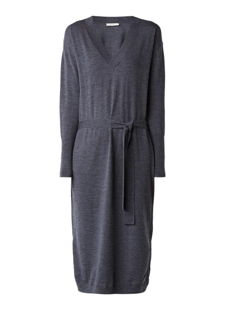 Sissy Boy Jucianne midi-jurk van merinowol met strikceintuur donkergrijs