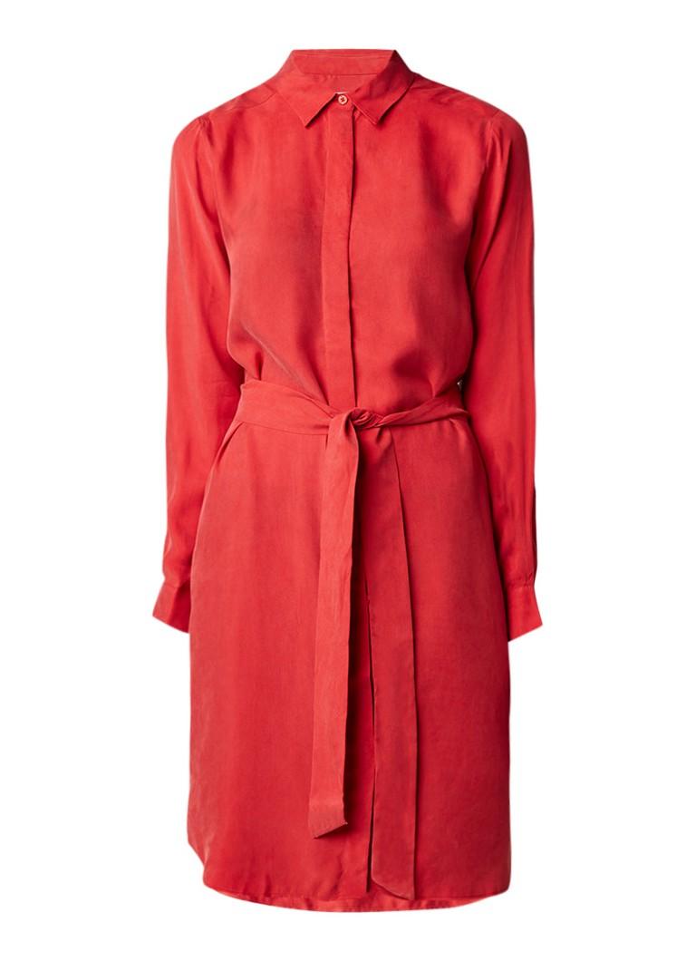 Sissy Boy Juultje blousejurk met strikceintuur en split rood