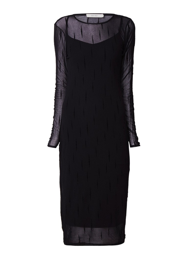 Sissy Boy Jesha semi-transparante midi-jurk met flockprint zwart
