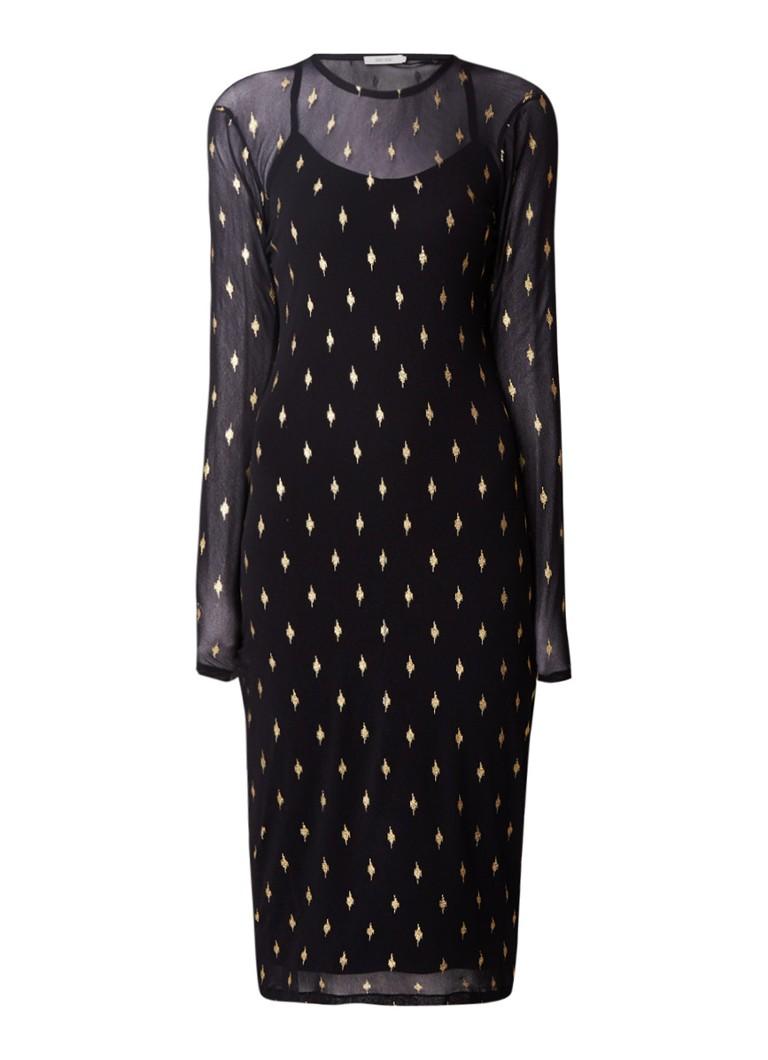 Sissy Boy Jesha semi-transparante midi-jurk met lurex dessin zwart