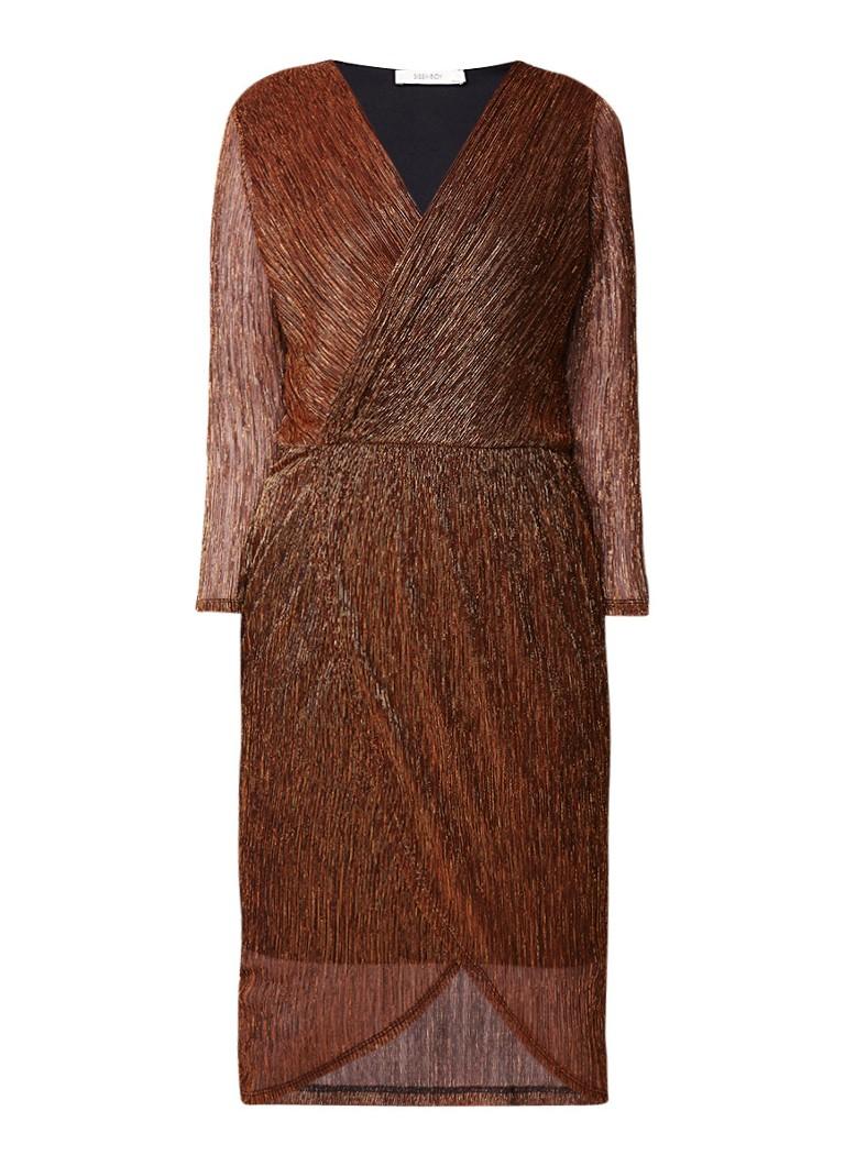 Sissy Boy Jeva plissé midi-jurk met overslag en allover lurex koper