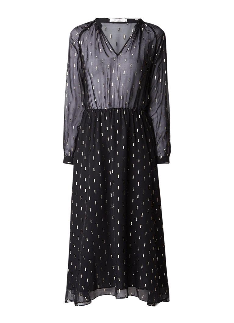Sissy Boy Jorayas A-lijn jurk in zijdeblend met lurex dessin zwart