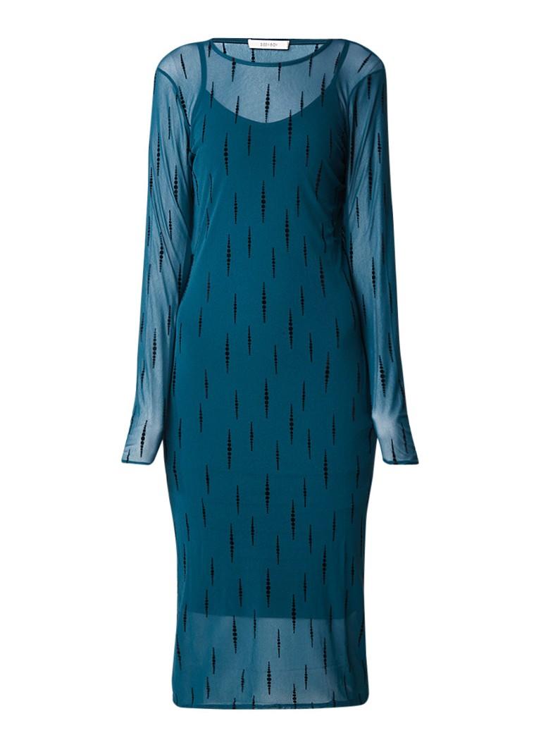 Sissy Boy Jesha jurk van mesh met dessin van fluweel donkergroen