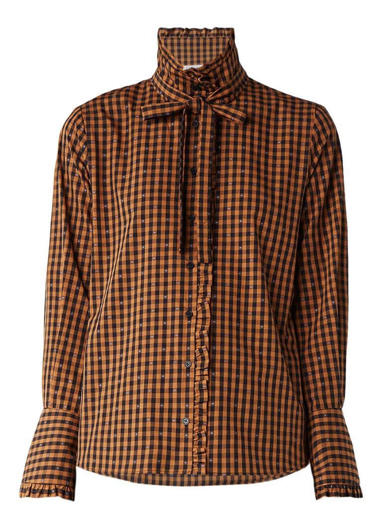 Claudie Pierlot Cerise blouse met ruitdessin en ruches