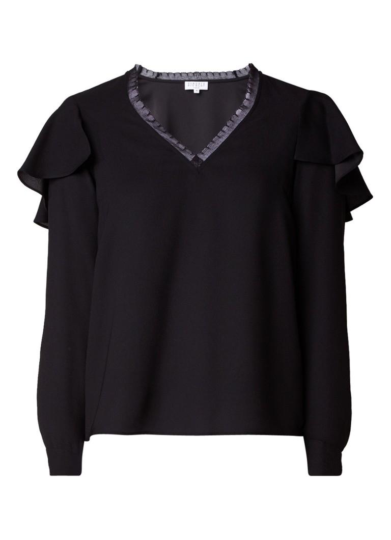 Claudie Pierlot Benedicte blouse met volant en kanten detail
