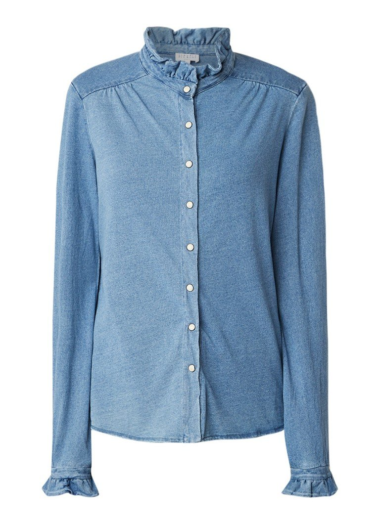 Claudie Pierlot Twenty blouse van denim met stretch en ruches