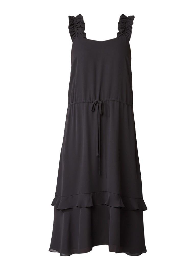 Claudie Pierlot Riviere midi-jurk met taillekoord en ruches zwart