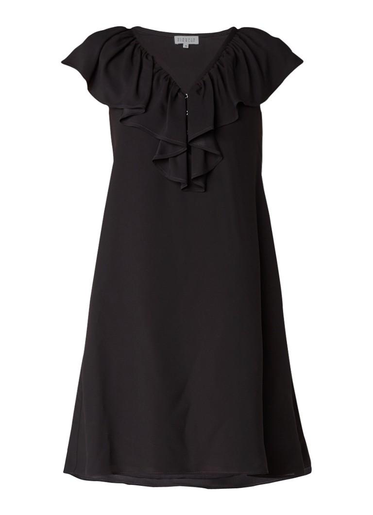 Claudie Pierlot Rock mini-jurk met V-hals en volant zwart