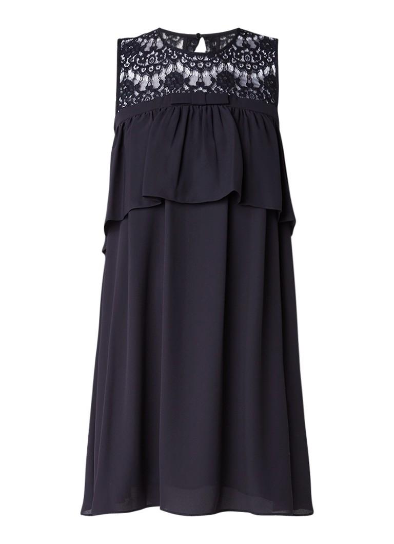 Claudie Pierlot Richie jurk met bovenzijde van kant en keyhole donkerblauw