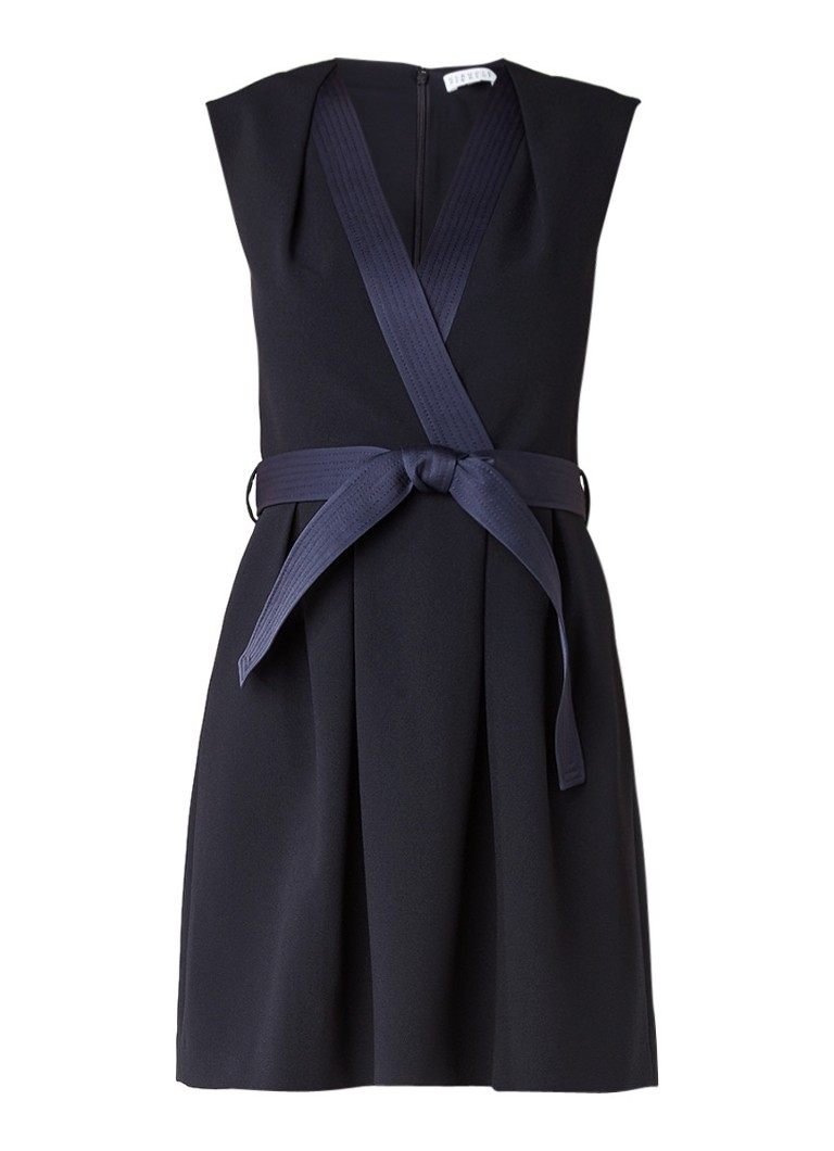 Claudie Pierlot Rank jurk met overslag en tailleceintuur donkerblauw
