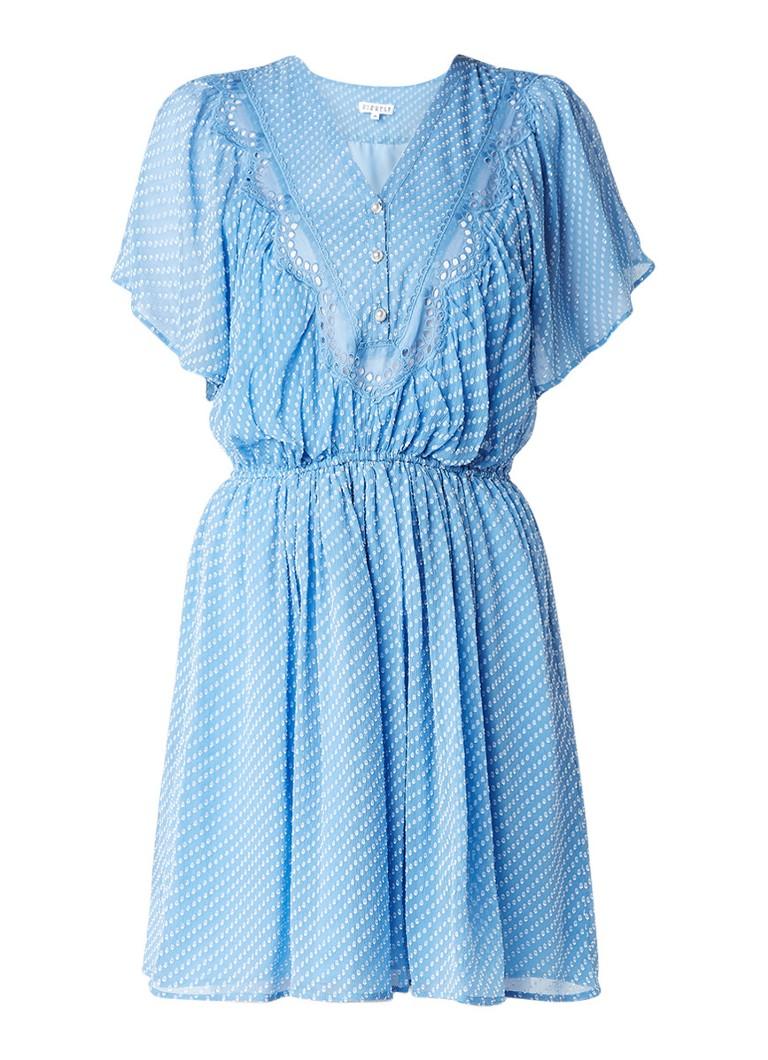 Claudie Pierlot Riri A-lijn jurk in zijdeblend met broderie en vlindermouw blauw