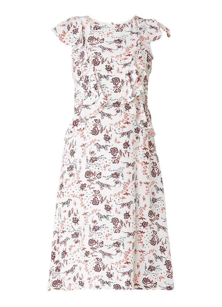 Claudie Pierlot Robin midi-jurk met gebloemd dessin en ruches gebroken wit