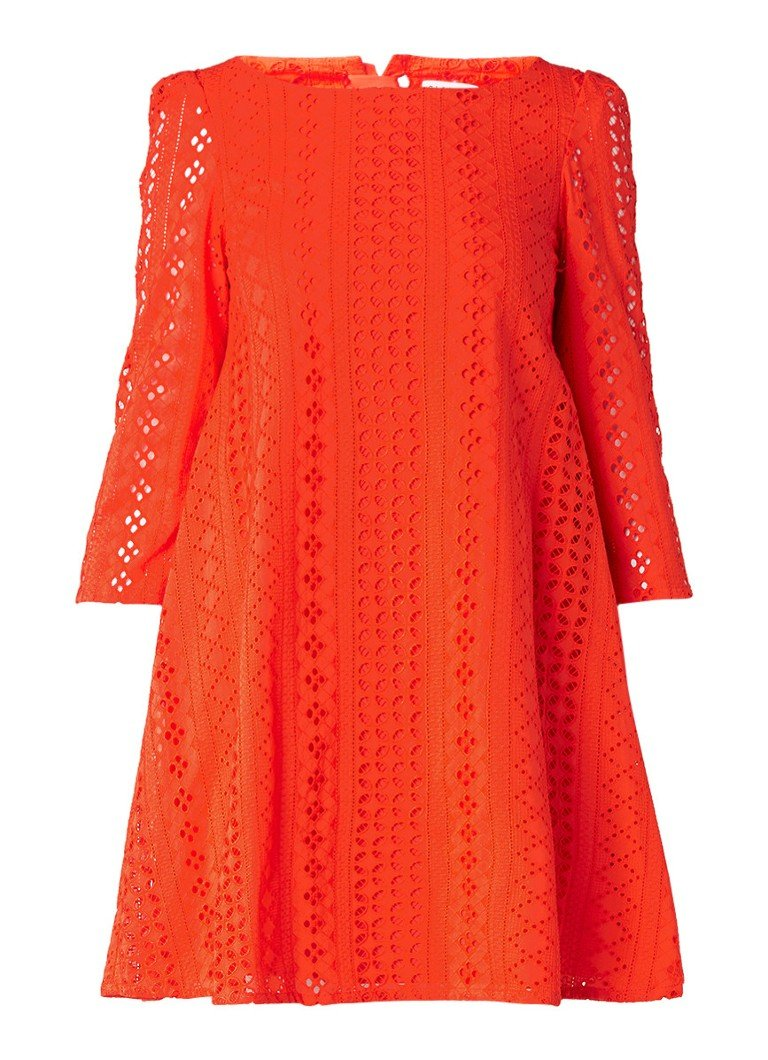 Claudie Pierlot Rififi A-lijn jurk met broderie en strikdetail oranjerood