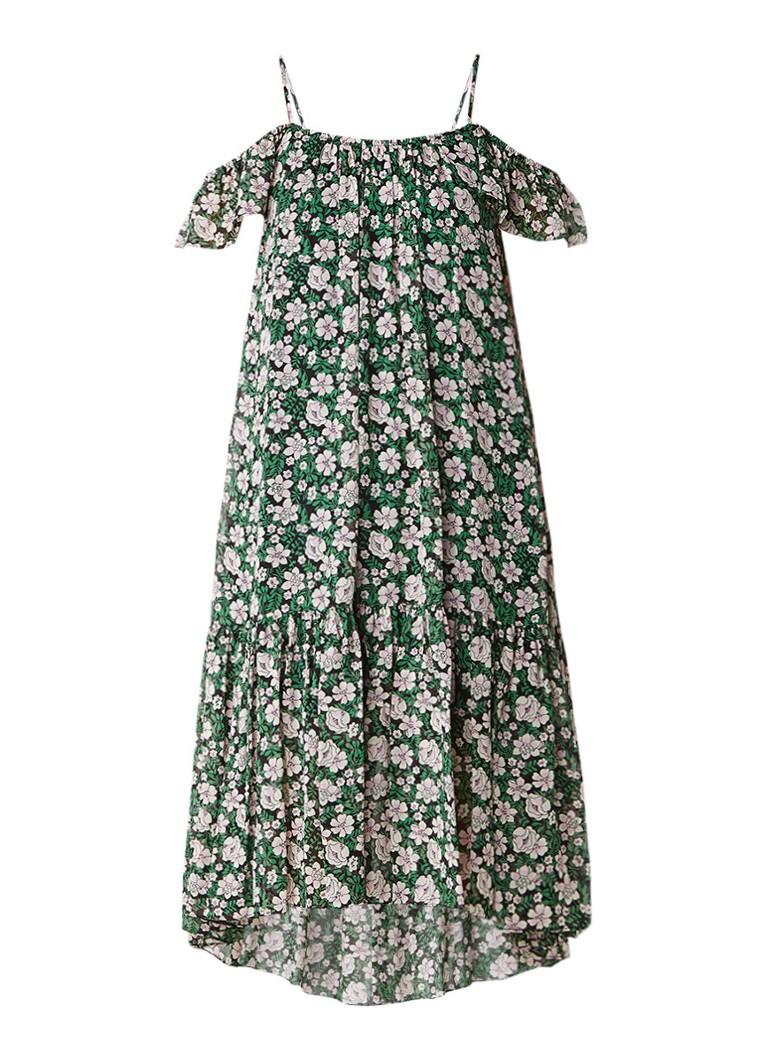 Claudie Pierlot Rafaela off shoulder jurk met bloemendessin groen