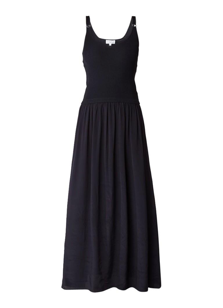 Claudie Pierlot Milan maxi-jurk in zijdeblend met V-hals donkerblauw