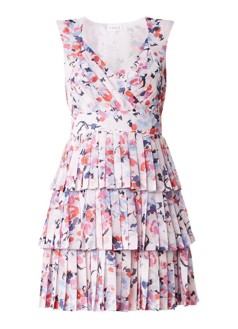 Claudie Pierlot Roucoulade gelaagde jurk met bloemendessin lichtroze