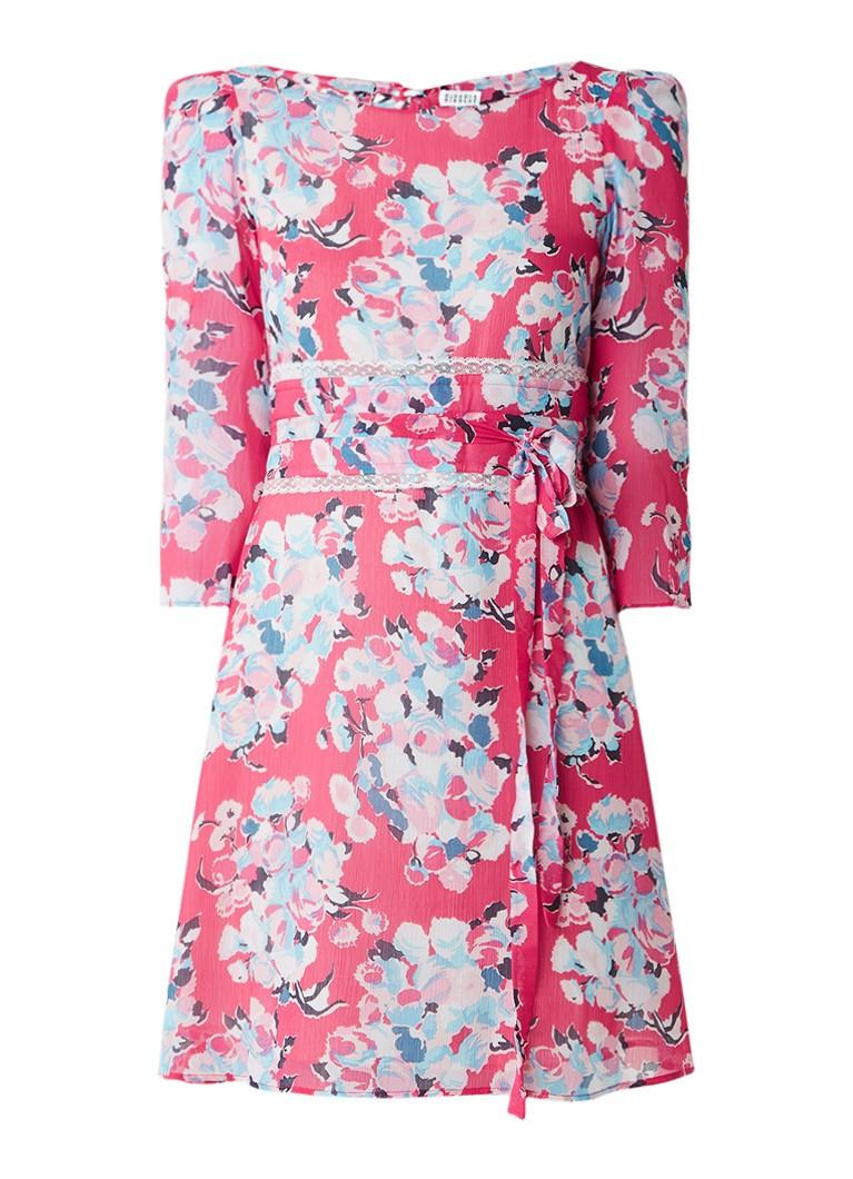 Claudie Pierlot Rififi Love jurk met tailleceintuur en bloemendessin fuchsia