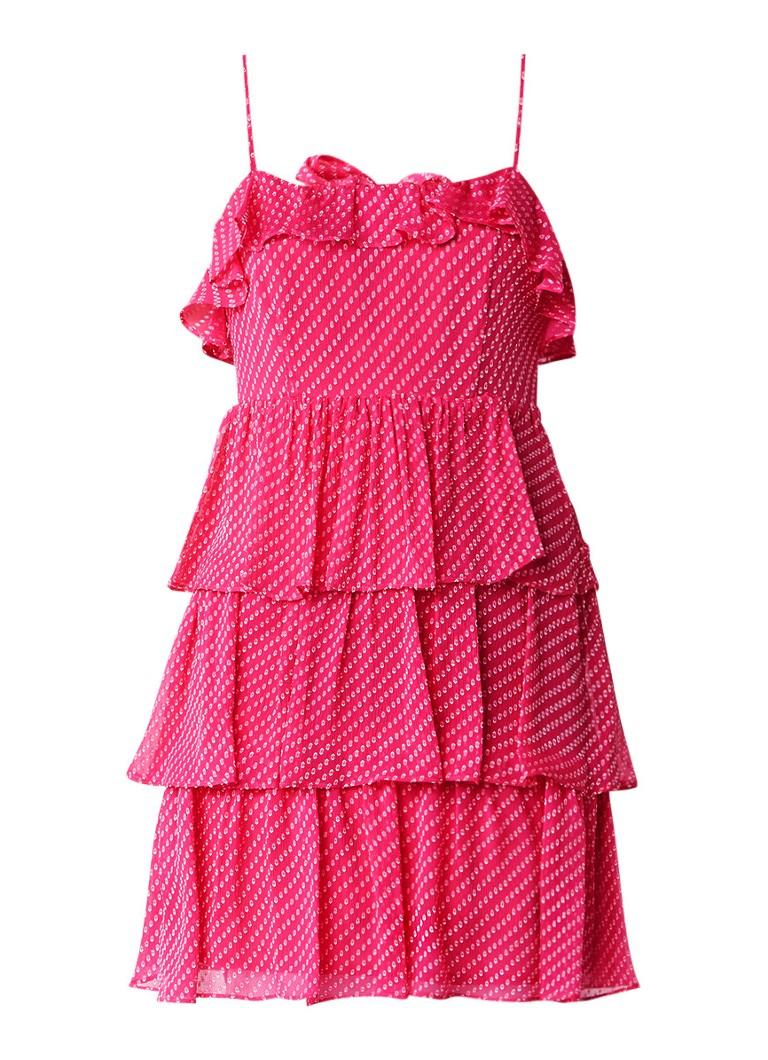 Claudie Pierlot Rayonnante jurk in zijdeblend met ruches donkerroze