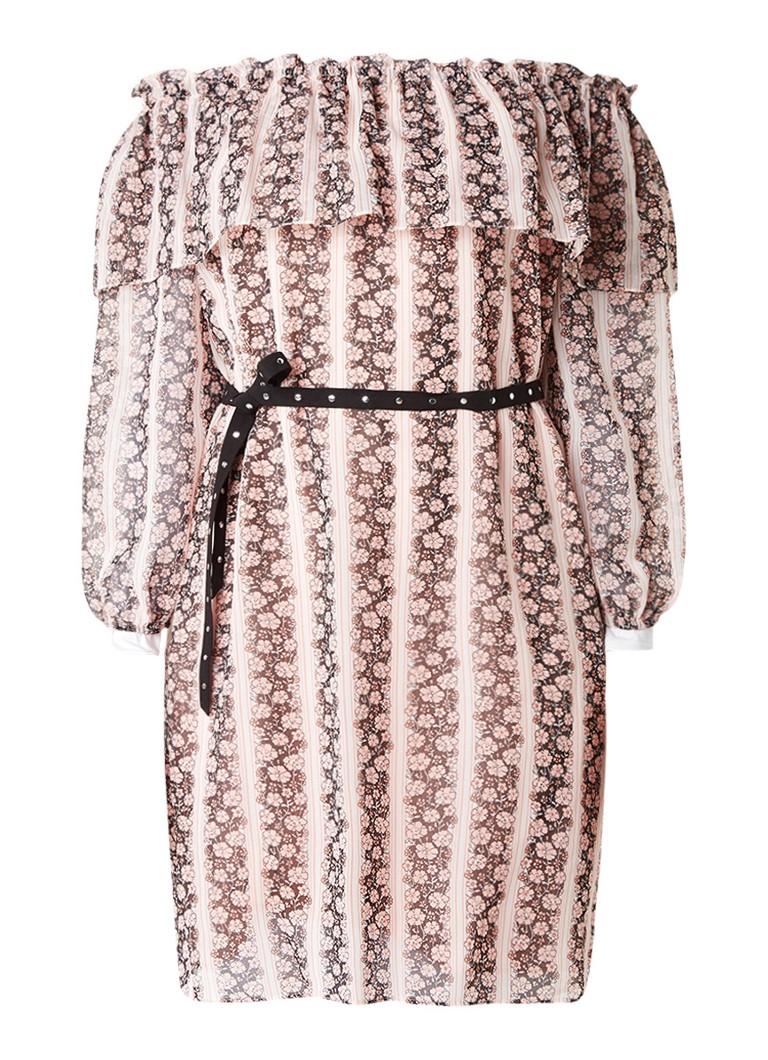 Claudie Pierlot Respect crêpe off shoulder jurk met gestreept bloemdessin en ceintuur oudroze