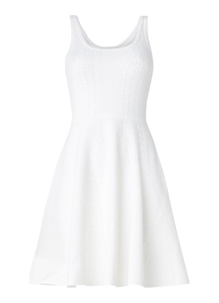 Claudie Pierlot Monalisa A-lijn jurk met jacquarddessin gebroken wit
