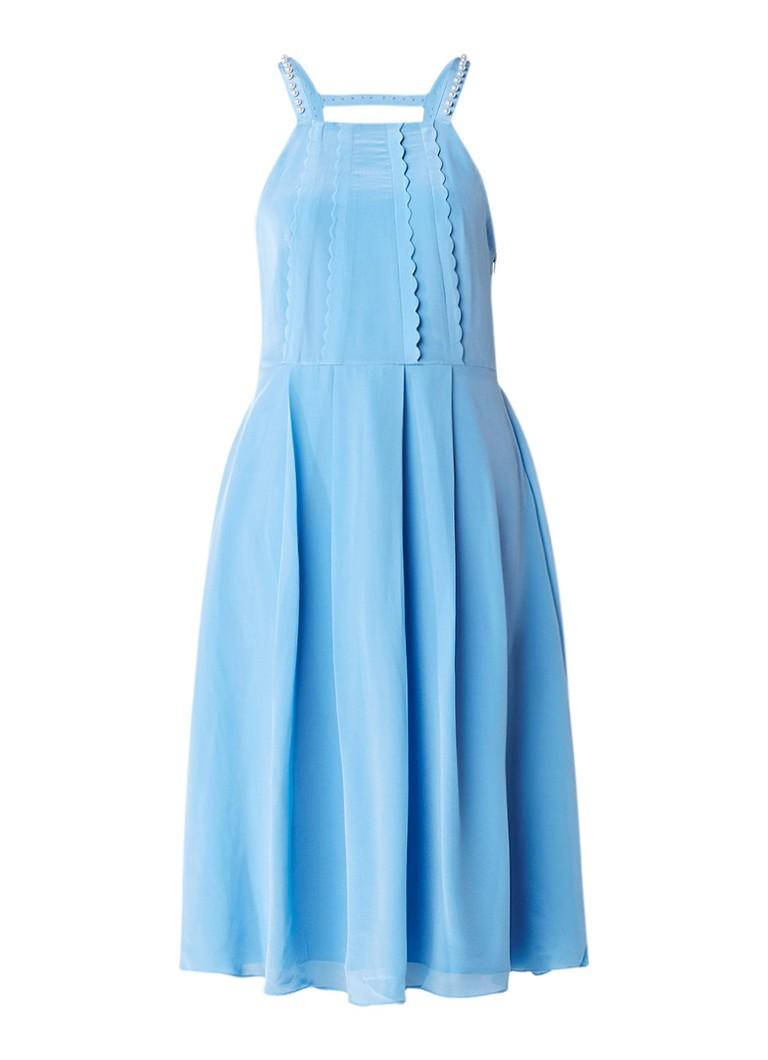 Claudie Pierlot Rivoli jurk in zijdeblend met pareldetails lichtblauw