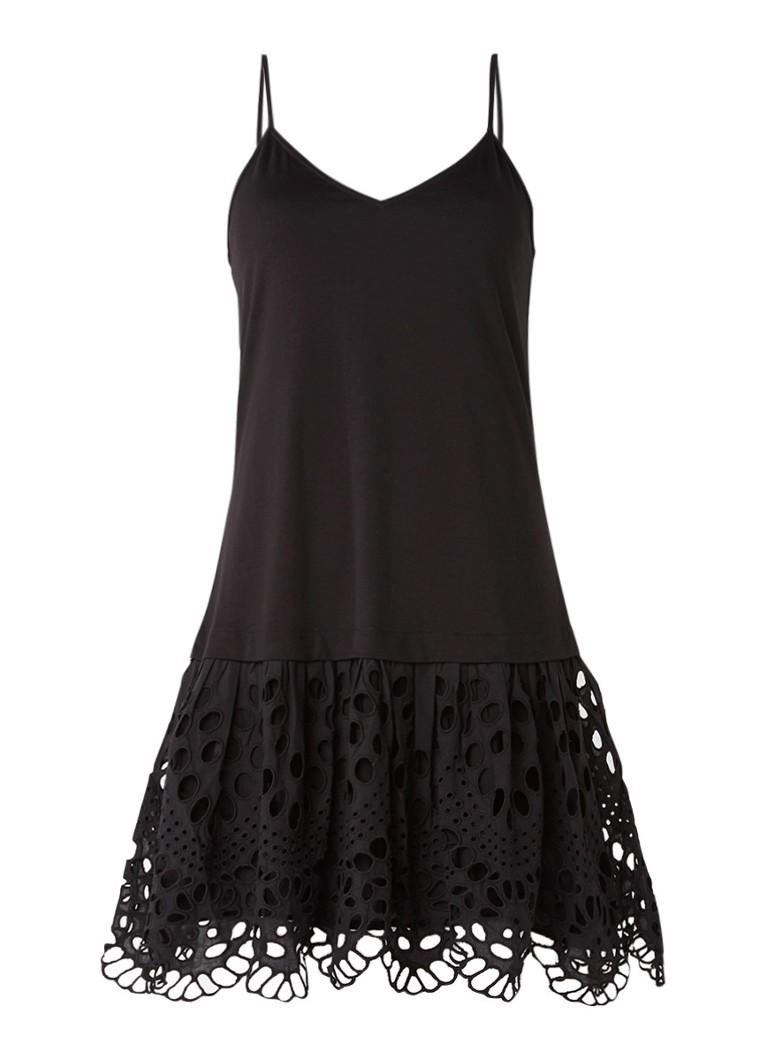 Claudie Pierlot Tina jurk met opengewerkte onderzijde zwart