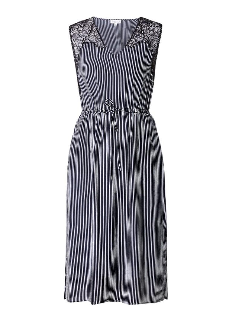 Claudie Pierlot Rare A-lijn jurk in zijdeblend met kanten details donkerblauw