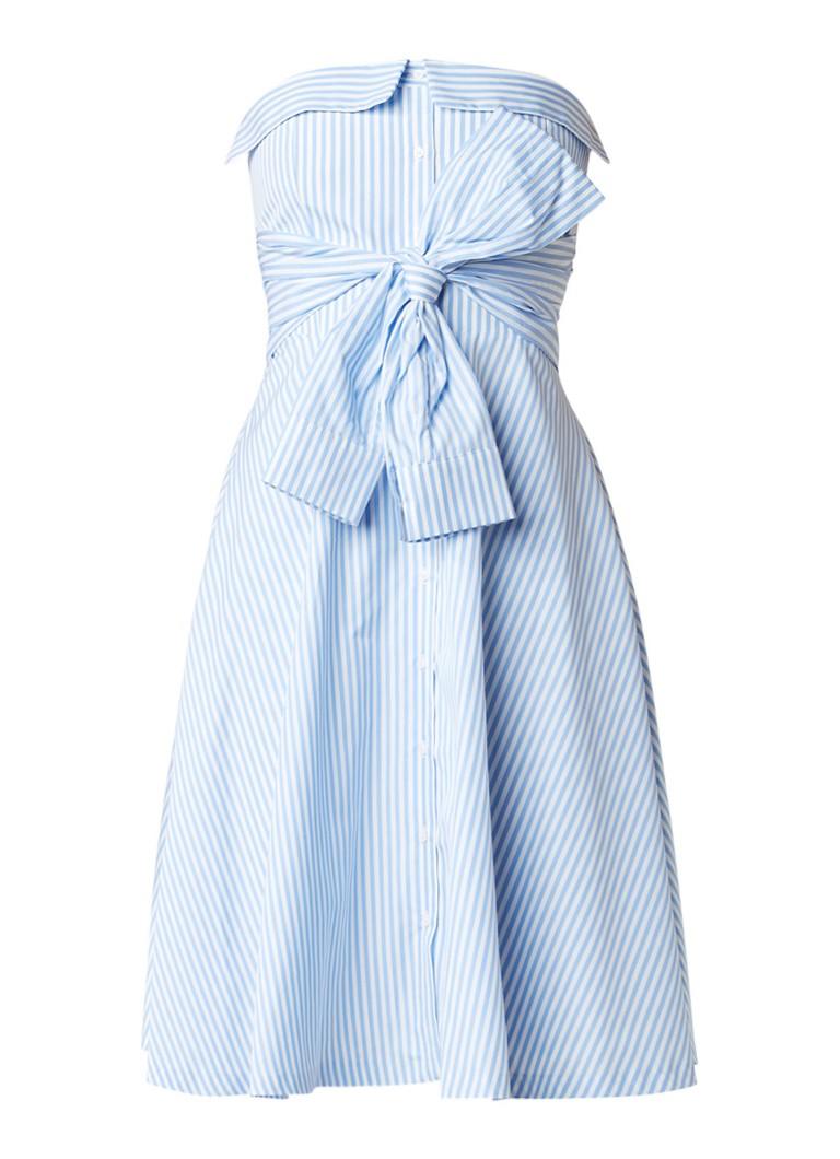 Claudie Pierlot Rina strapless A-lijn jurk met streepdessin lichtblauw