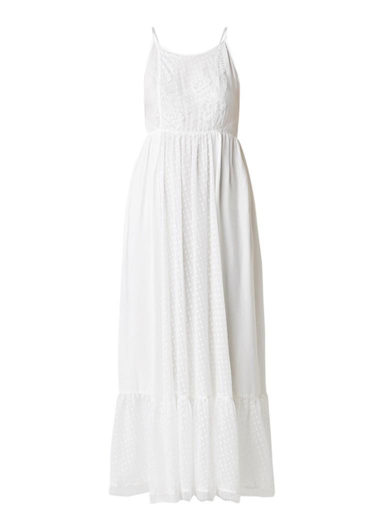 Claudie Pierlot Rosee maxi-jurk van crêpe met ceintuur en kant gebroken wit