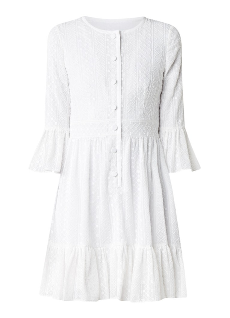 Claudie Pierlot Reverie blousejurk met geborduurd bloemendessin gebroken wit