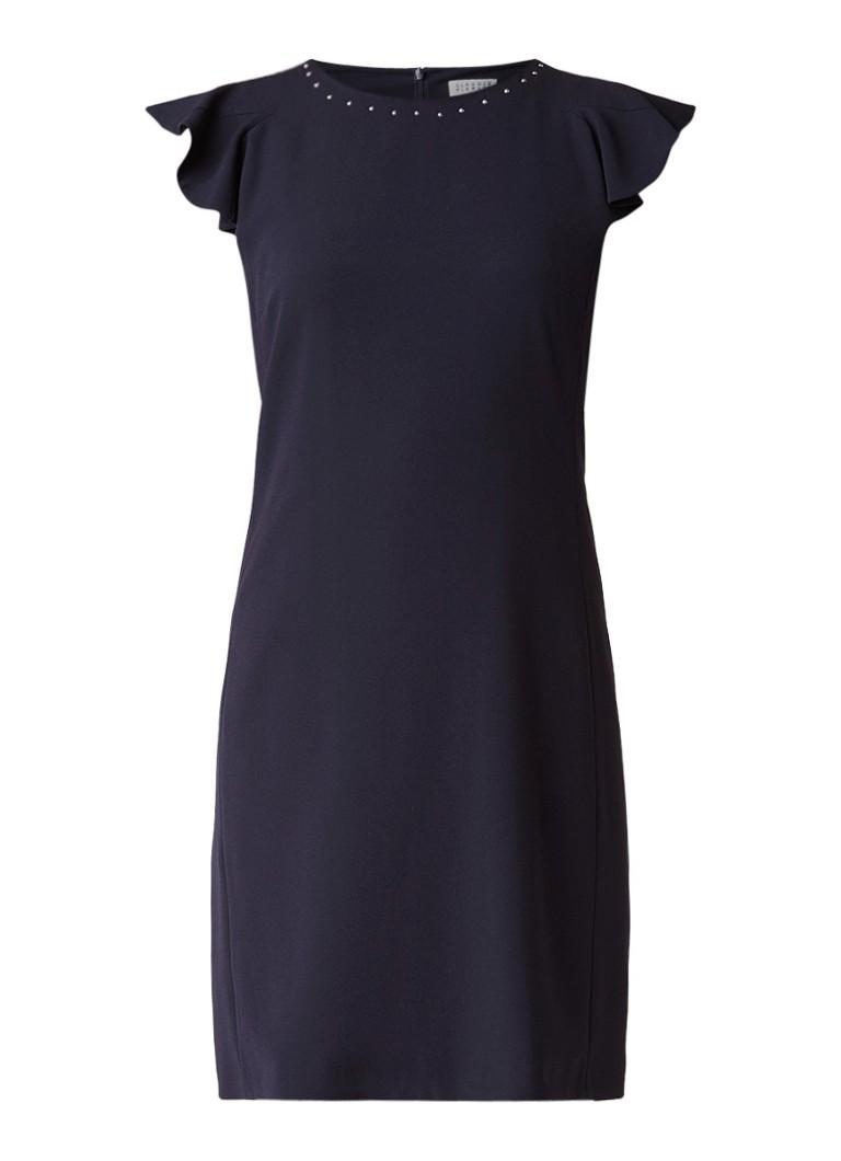 Claudie Pierlot Roquette korte jurk met volantmouw en studs donkerblauw
