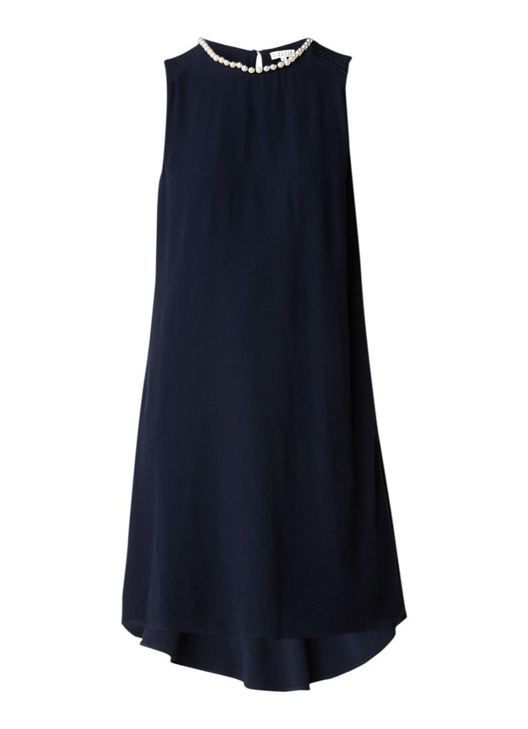 Claudie Pierlot Rayanna midi-jurk met volant en pareldecoratie donkerblauw