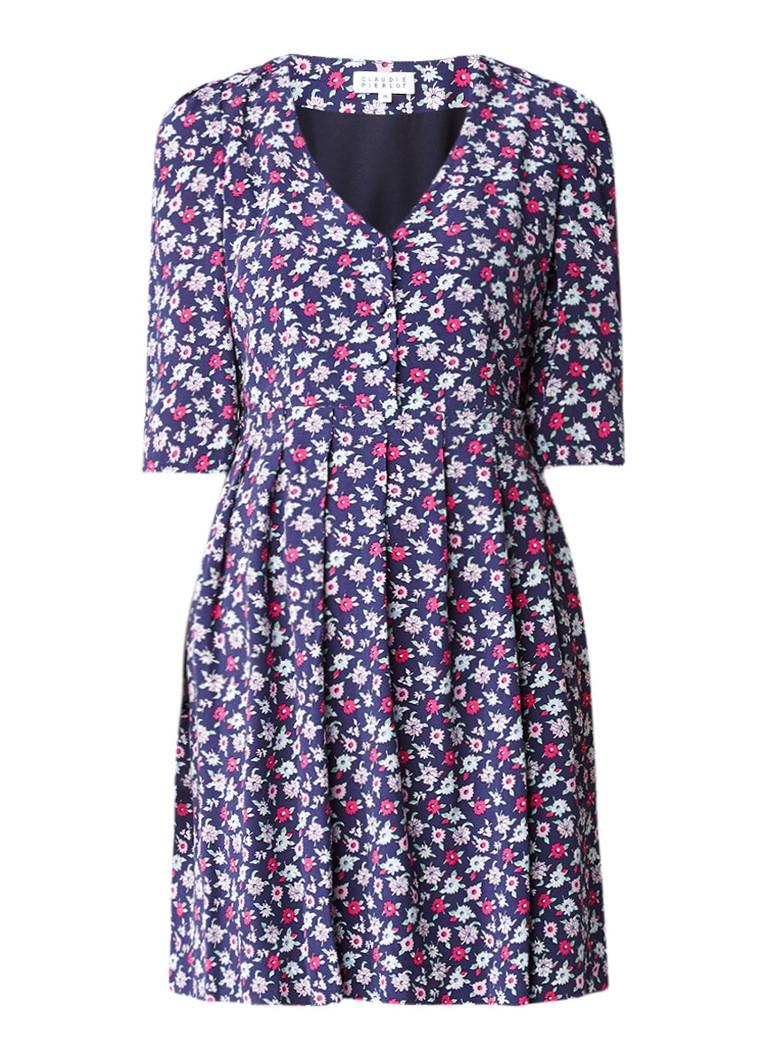 Claudie Pierlot Reine A-lijn jurk met bloemdessin donkerblauw