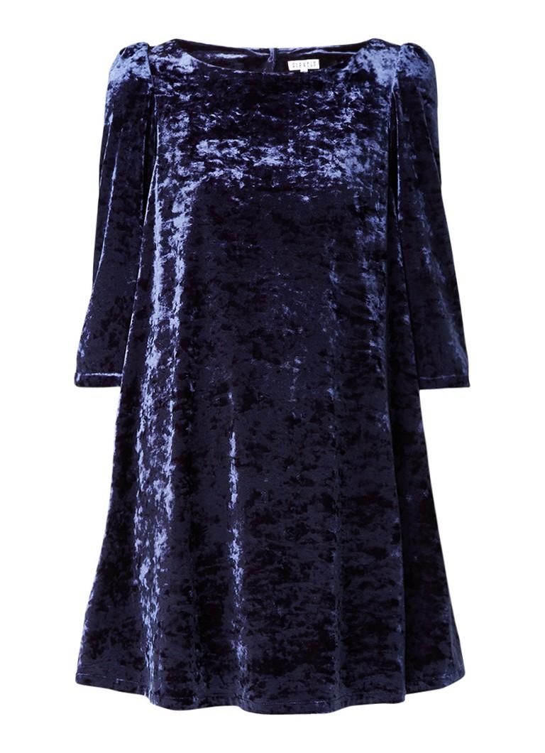 Claudie Pierlot Rififi mini-jurk van fluweel met pareldetail blauw