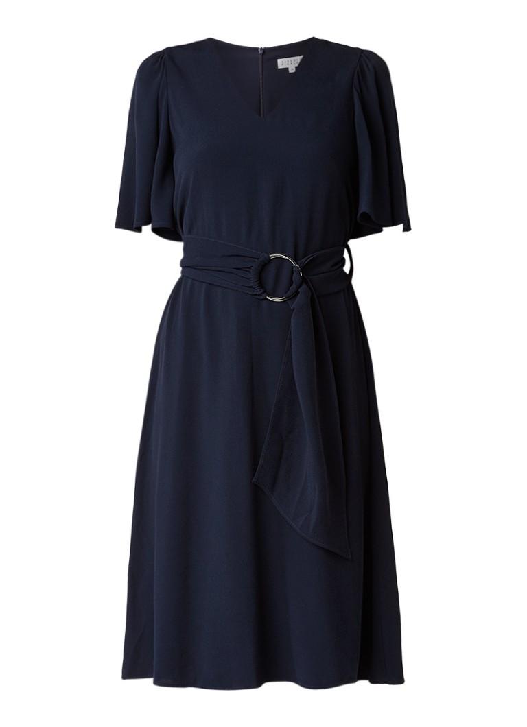 Claudie Pierlot Rajah A-lijn jurk van crêpe met ceintuur donkerblauw