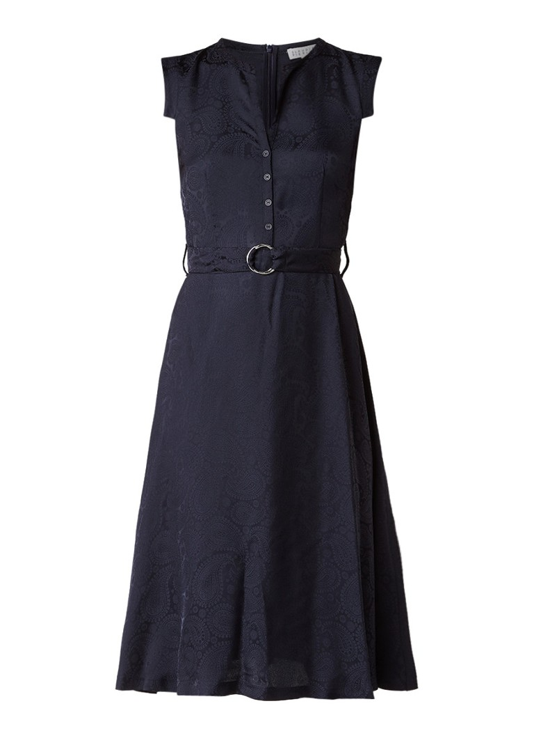 Claudie Pierlot Rosemary A-lijn blousejurk met paisley jacquarddessin donkerblauw