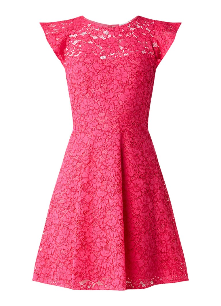 Claudie Pierlot Robby jurk van kant met rugdecolleté fuchsia