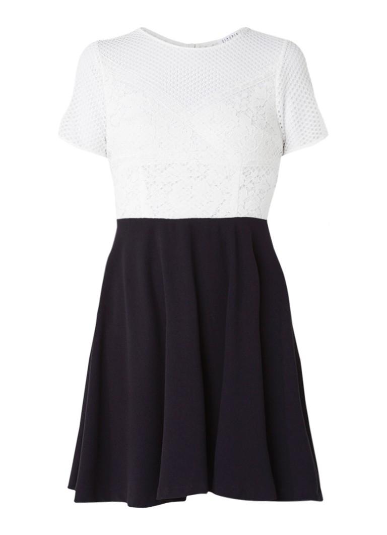 Claudie Pierlot Regard A-lijn jurk met top van kant gebroken wit