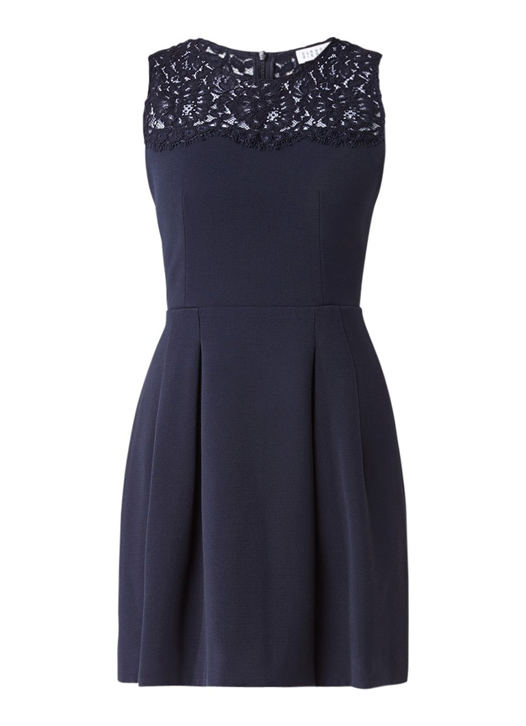 Claudie Pierlot Rabelais mini A-lijn jurk met kant donkerblauw