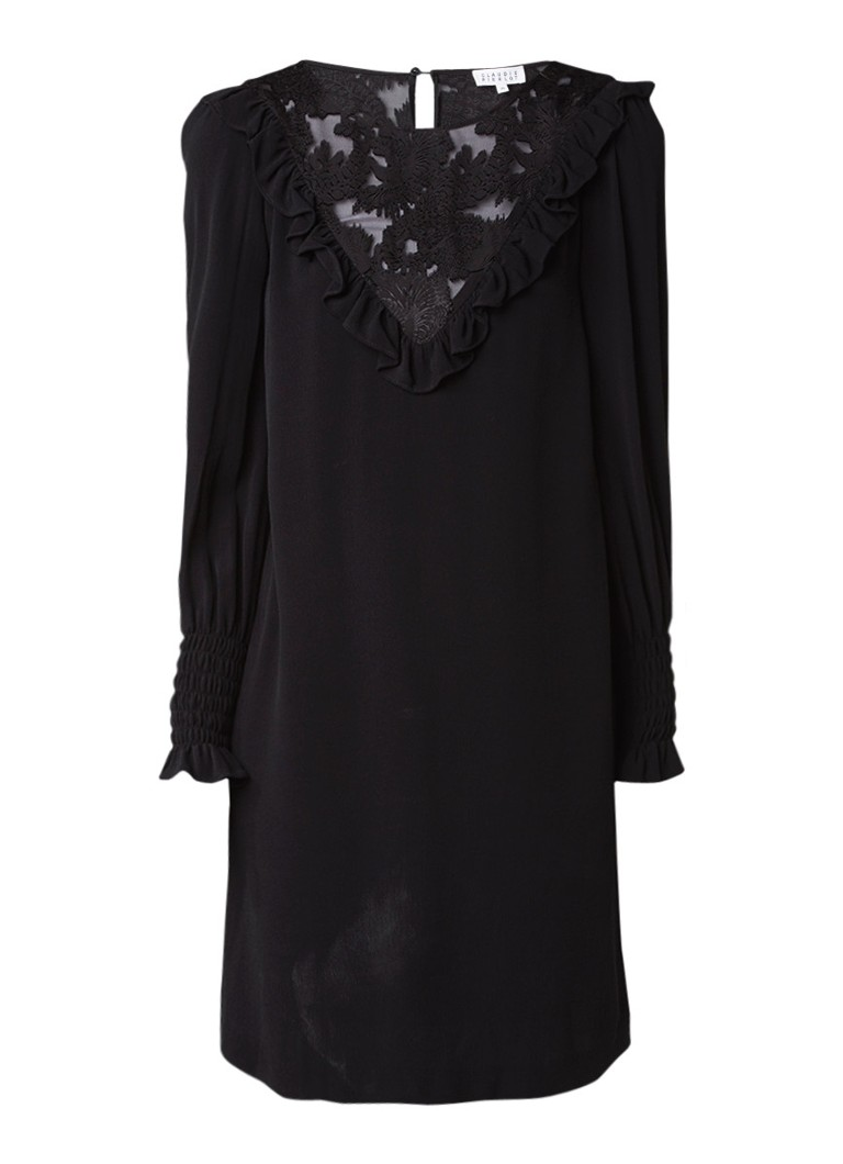 Claudie Pierlot Reinette jurk met inzet van kant en ruches zwart