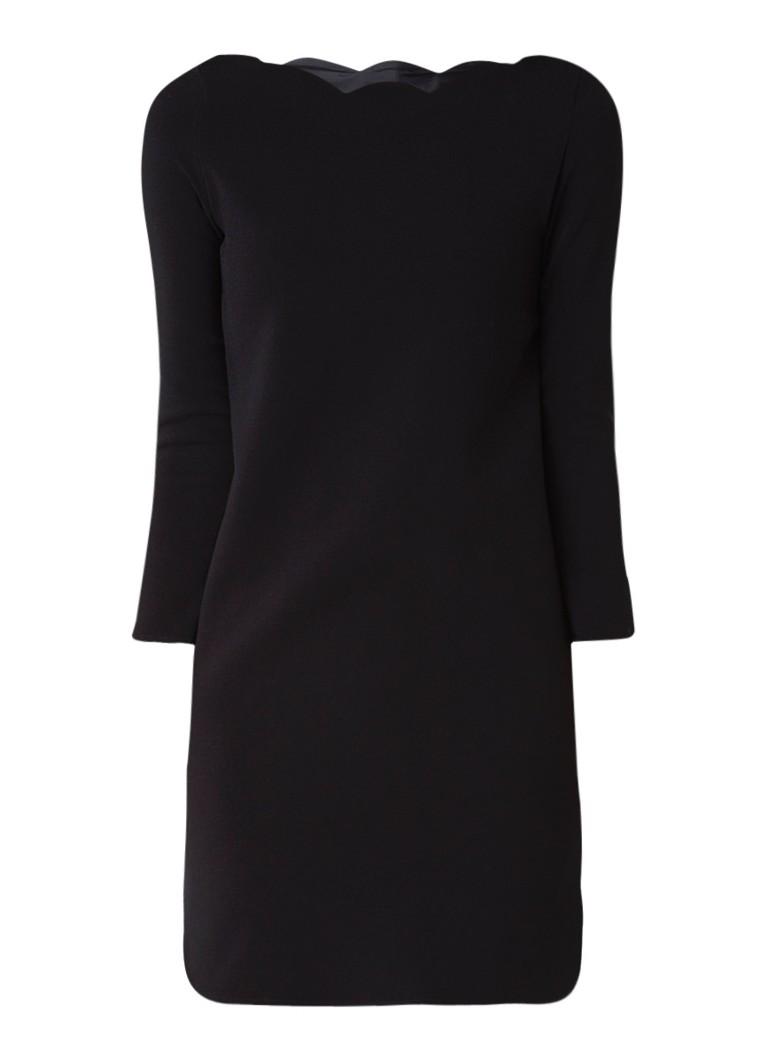 Claudie Pierlot Rover jurk met halflange mouw en geschulpte halslijn zwart