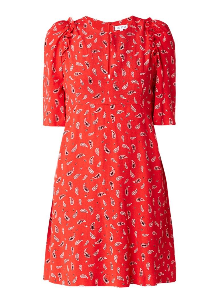 Claudie Pierlot Ravie A-lijn jurk met paisleyprint rood