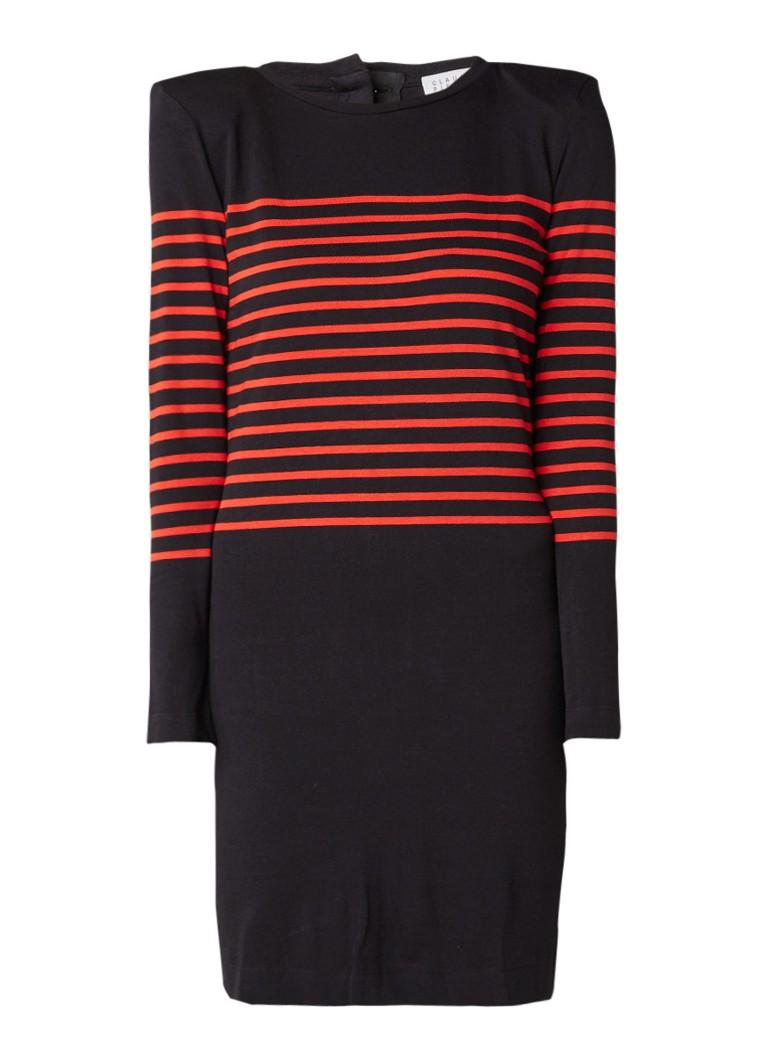 Claudie Pierlot Theo fijngebreide trui-jurk met schoudervulling en streepdessin zwart