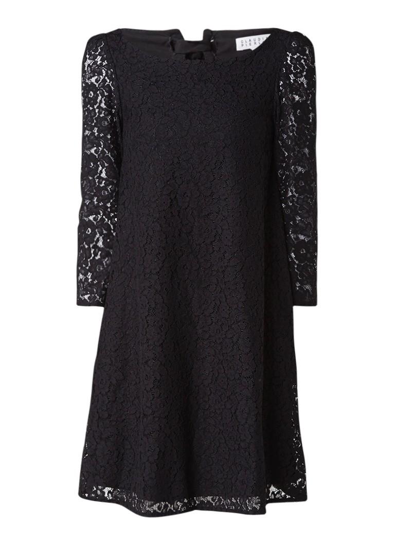 Claudie Pierlot Rififi jurk van kant met striksluiting zwart