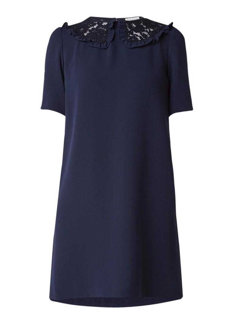 Claudie Pierlot Rivka jurk van crêpe met kraag van kant donkerblauw