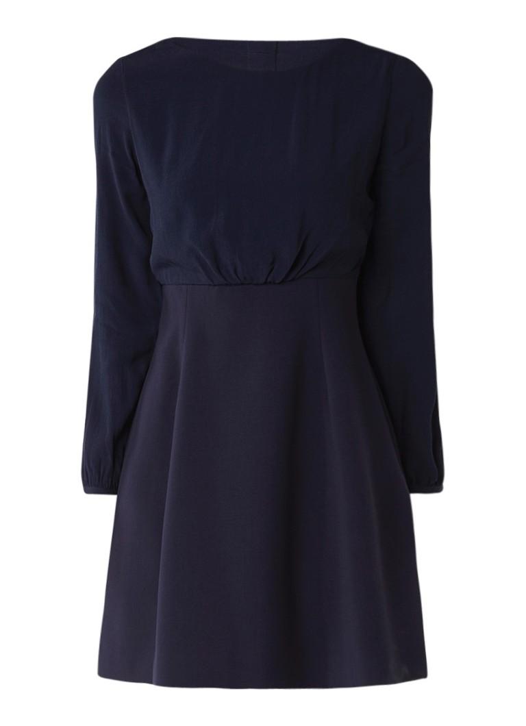 Claudie Pierlot Romantique A-lijn jurk met contraststof donkerblauw